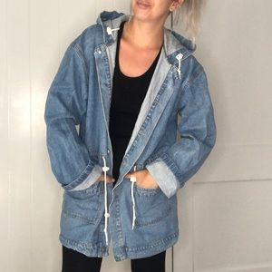 Vintage long denim jacket cinched waist